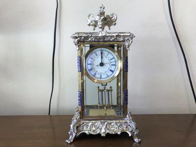 Ornate Brass And Cloisonne Battery Powered Pendulum Clock