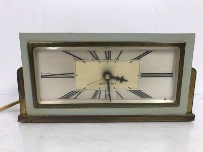Vintage Brass And Painted Wood Art Deco Design Seth Thomas Electric Clock Baxter-4E E009-013