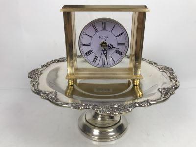 Reed & Barton Footed Silverplate Dish And Bulova Quartz Mantle Clock