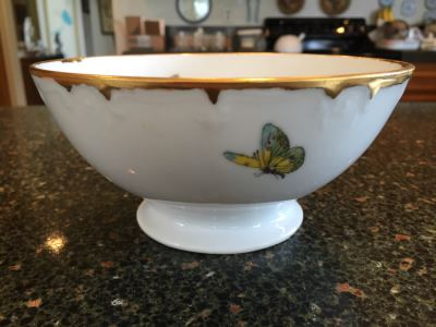 Handpanted Limoges France Footed Bowl With Gold Rim And Butterflies