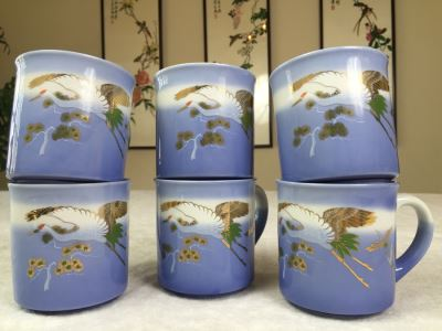 Set Of (6) Signed Japanese Coffee Cups