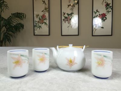 Signed Asian Teapot With (3) Cups