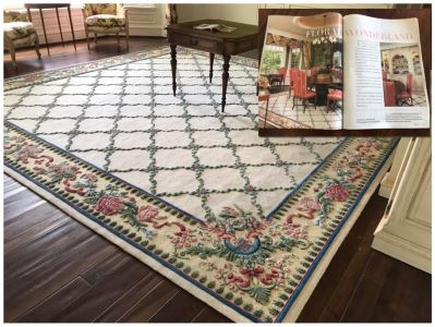JUST ADDED - Stunning 13.75' Square Hand Knotted Wool Area Rug With Floral Motif Featured In Several Magazines - See Photos - Item Has Reserve Price