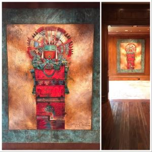 JUST ADDED - Original Monumental Oil Painting Of Kachina With Custom Wood And Hand Hammered Copper Frame By Tony Abeyta Navajo Contemporary Native American Artist - 64' X 76' Frame / 48' X 60' - Item Has Reserve Price