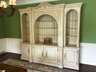 JUST ADDED - Large Two Piece Wooden Bookcase China Cabinet With Glass Shelves And Overhead Lighting Featured In Magazines 9'W X 8.5'H X 26'D - MORE ITEMS ADDED TO END OF SALE