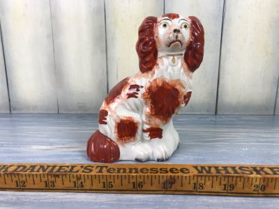 JUST ADDED - Antique English Staffordshire Spaniel Dog Sculpture Figurine Hand Painted With Member Of British Antique Dealer Sticker From Andrew Dando Of Bath England Validating Authenticity