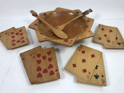 Carved Wooden Playing Cards Themed Salad Bowl Set With (4) Carved Wooden Trays
