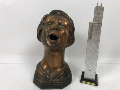 Metal Female Bust Sculpture 7'H And Sears Tower Figurine