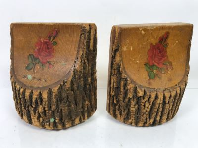 Pair Of Antique 1904 Wooden Tree Bookends With Inscription On Back Of One