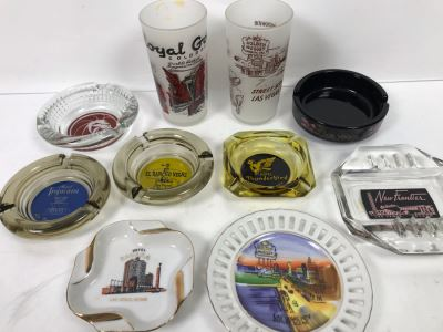 Vintage Las Vegas Ashtrays And Pair Of Las Vegas Drinking Glasses