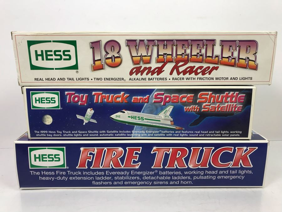 3 Collectible Hess Toy Trucks In Boxes