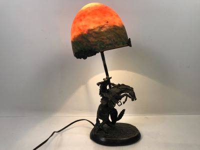 Frederic Remington Bronze Table Lamp With Colored Glass Shade