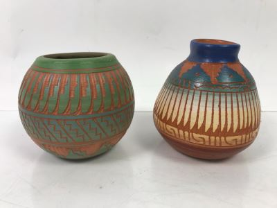 Pair Of Native American Pottery Pots - One Signed Dewayne Eskeets Navajo Other Signed BL