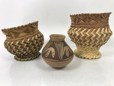 Mexican Pottery And Pair Of Small Woven Footed Baskets