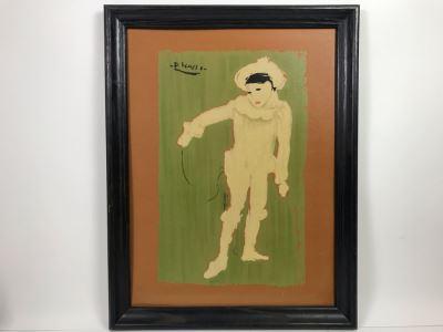 Framed Picasso White Clown Print 18 X 24