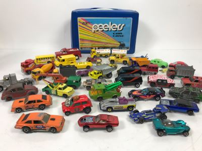 Various Cars Including Hot Wheels Redline Cars And Matchbox With Car Case