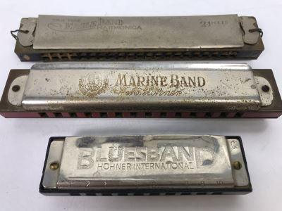 (3) Vintage Harmonicas: M. Hohner Marine Band, Hohner Blues Band, Eagle Band Harmonica