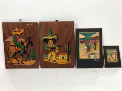 Pair Of Well Executed Mexican Native Stick Art / Straw Folk Art Paintings And Pair Of Hand Painted Mexican Scene Paintings On Board