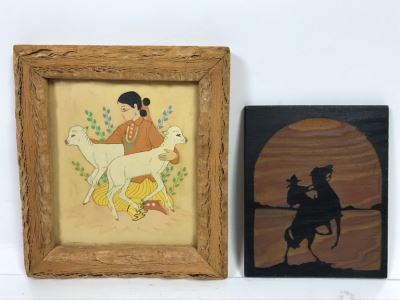 Original Artwork Of Native American Woman In Wooden Frame And Cowboy Wrangler Sylvanart Etching In Wood From Yellowstone Park, WY