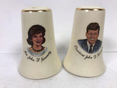 Vintage Pair Of President John F. Kennedy And Jackie Kennedy Salt & Pepper Shakers