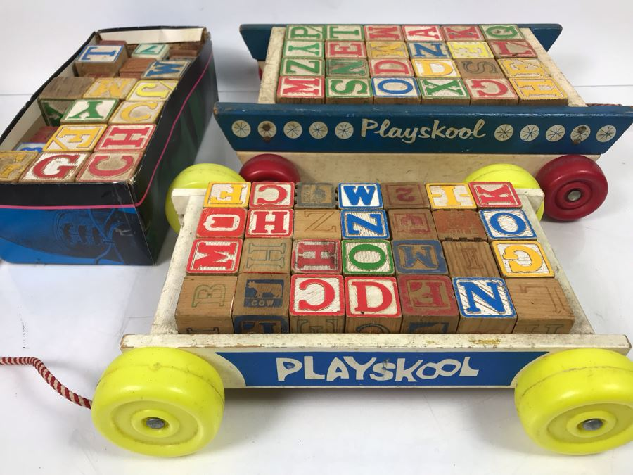 Collection Of Vintage Wooden Blocks And 2 Playskool Pull Wagons