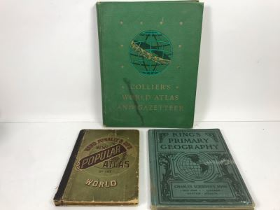 1885 Rand McNally & Co New Popular Atlas, 1907 King's Primary Geography And 1943 Collier's World Atlas