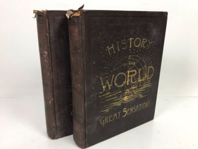 Antique 1887 2 Volume Books A History Of The World With All Its Great Sensations And Of The Rise And Fall Of Nations