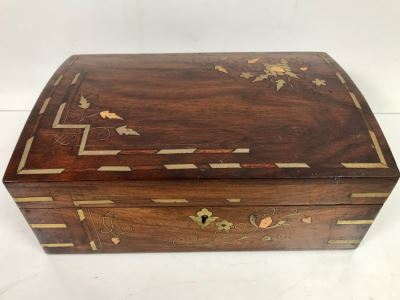 Vintage Wooden Brass And Copper Inlay Jewelry Box 12' X 8' - See Photos