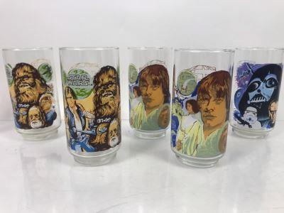 (5) Vintage 1977 Original Star Wars Burger King Collectible Glasses