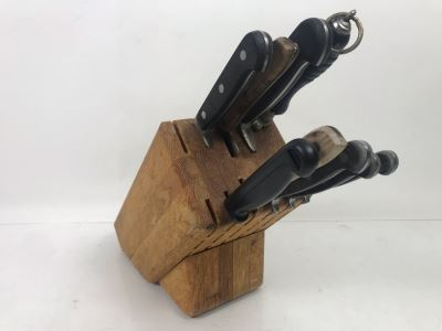 Hoffritz Knife Holder With Various Knives Including Hoffritz - See Photos