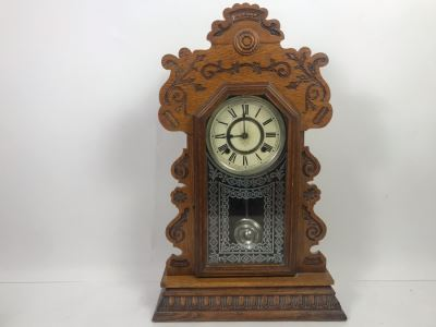 Ansonia Clock Co New York Carved Wooden Case Clock