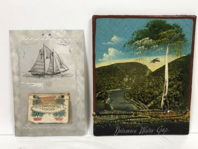 Antique 1906 Calendar With Metal Nautical Themed Holder And Delaware Water Gap Painting