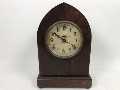 Vintage E. Ingraham Co Bristol Conn Clock - Frame That Holds Glass Face Needs To Be Soldered To Hinge 13'H X 8.5'W