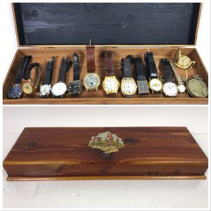 Vintage Wooden Box And Various Watches