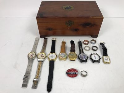 Vintage Wooden Box With Mickey Mouse Watches, The Black Hole Watch, Pepsi Watch, Pearl Playing Cards Watch, Road Runner Watches And Mens Rings