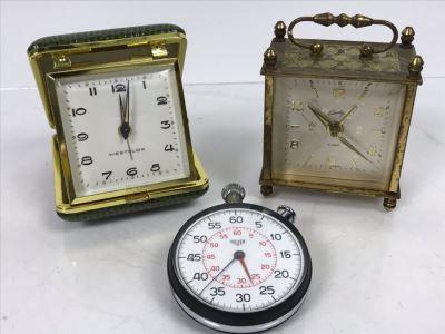 Heuer Stopwatch, Westclox Portable Alarm Clock And Bradley Portable Alarm Clock