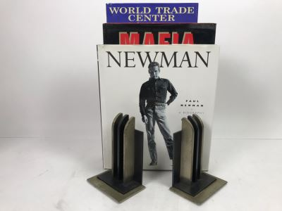 Pair Of Metal Art Deco Bookends By Chase And Book Collection - See Photos