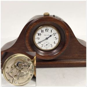 Working Hamilton Watch Co 924 Pocket Watch 17 Jewels Lancaster PA With Handmade Wooden Pocket Watch Display Case