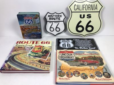 Historic Route 66 Wall Plaque, Metal Sign, License Plate, Books And DVD Collection