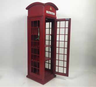 Wooden English Irish Phone Booth Curio Cabinet Shelving 8.5'W X 8.5'D X 28'H
