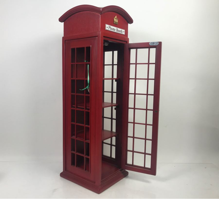 Wooden English Irish Phone Booth Curio Cabinet Shelving 8.5'W X 8.5'D X 28'H [Photo 1]