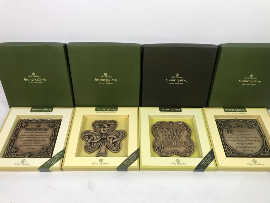 (4) New Celtic Shadows Bronze Gallery Plated Wall Plaques Retails $196 [Photo 1]