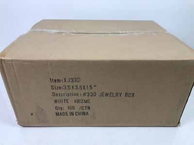 Box Of 100 New Jewelry Boxes 3.5 X 3.5 X 1.5 White Krome XJ33D Retails $46