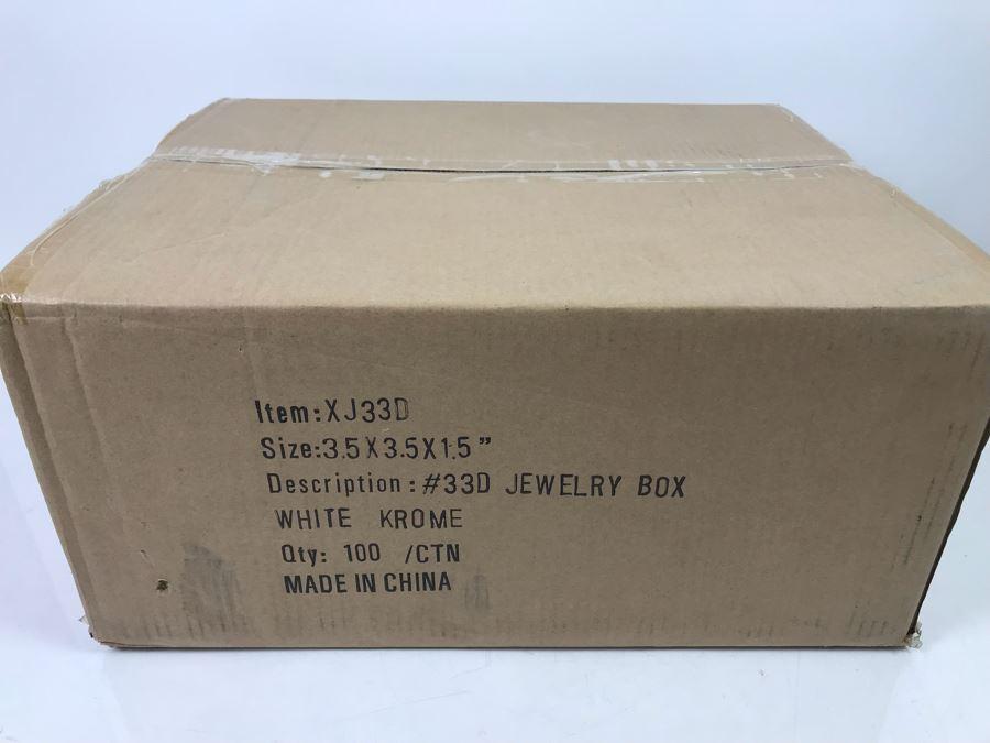 Box Of 100 New Jewelry Boxes 3.5 X 3.5 X 1.5 White Krome XJ33D Retails $46 [Photo 1]