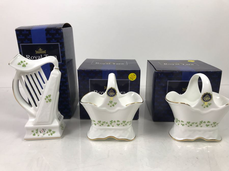 (3) New Royal Tara Fine Bone China Ireland Pieces (2) Planters And (1) Irish Harp - Trellis Shamrock Retails $137 [Photo 1]