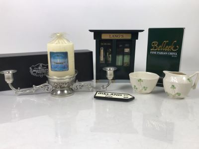 New Belleek Fine Parian China Sugar & Creamer, Irish Pub Key Rack, New Mullingar Pewter Candleholder Centerpiece And Ireland Sign Plaque