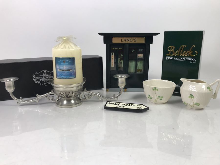 New Belleek Fine Parian China Sugar & Creamer, Irish Pub Key Rack, New Mullingar Pewter Candleholder Centerpiece And Ireland Sign Plaque [Photo 1]