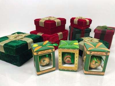 (3) New Ireland Celtic Baubles Ornaments And The Lindy Bowman Company Christmas Gift Boxes