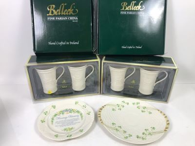 New Belleek Fine Parian China Irish  (2) Latte Sets, Shamrock Bread Plate And Harp Marriage Blessing Plate Retails $280
