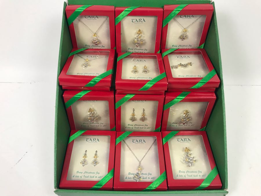 New Irish Tara Crafted By Solvar Christmas Themed Jewelry Necklaces, Brooches, Earrings With Retail Display Retails $239 [Photo 1]